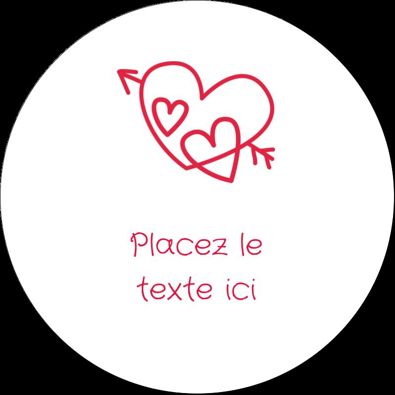 """2"""" Diameter Étiquettes rondes gaufrées - Dessin de la Saint-Valentin"""