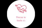 Dessin de la Saint-Valentin Étiquettes rondes gaufrées - gabarit prédéfini. <br/>Utilisez notre logiciel Avery Design & Print Online pour personnaliser facilement la conception.