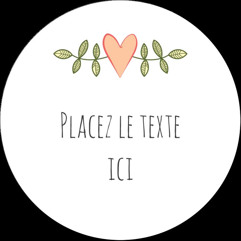 """2"""" Diameter Étiquettes rondes gaufrées - Dessin floral"""