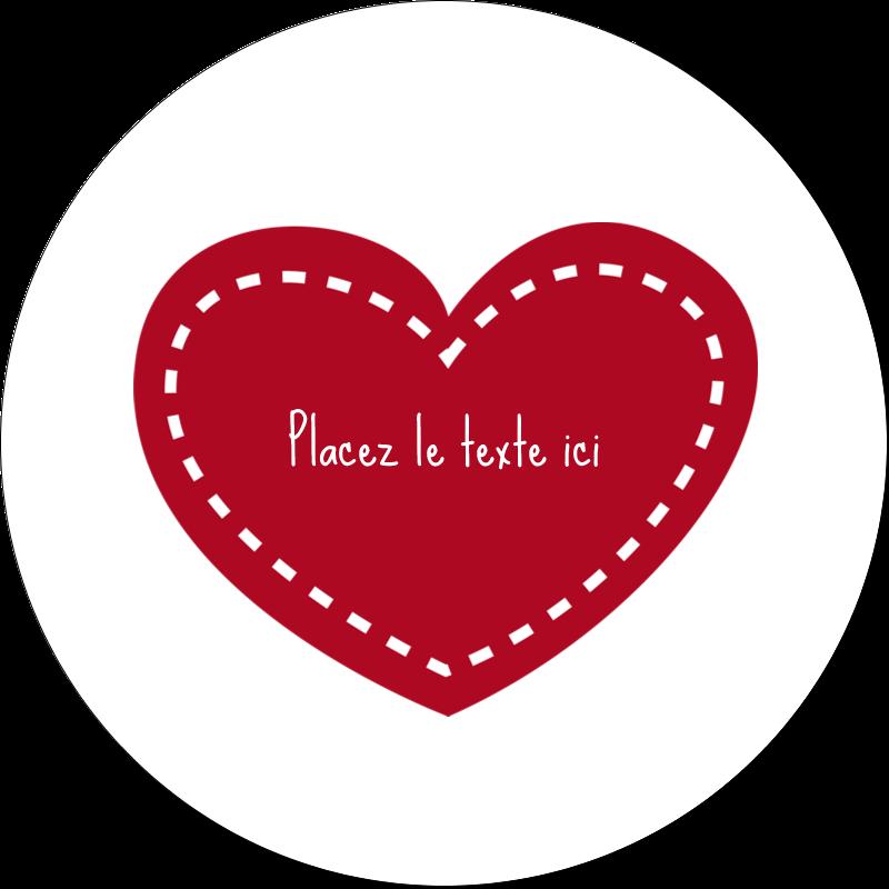 """2"""" Diameter Étiquettes rondes gaufrées - Cœur de Saint-Valentin"""
