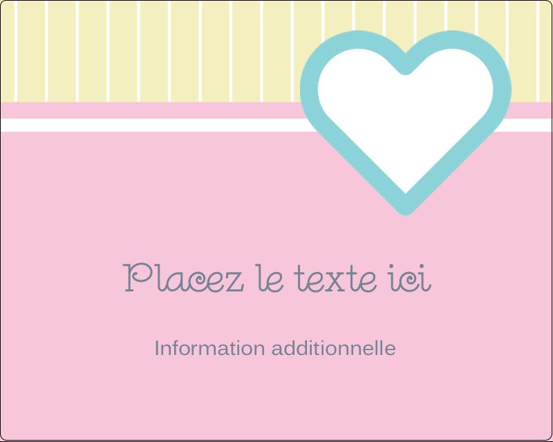 """3"""" x 3¾"""" Étiquettes rectangulaires - Cœur bleu"""