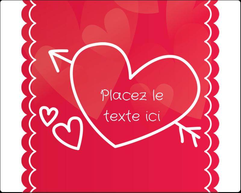 """3"""" x 3¾"""" Étiquettes rectangulaires - Dessin de la Saint-Valentin"""