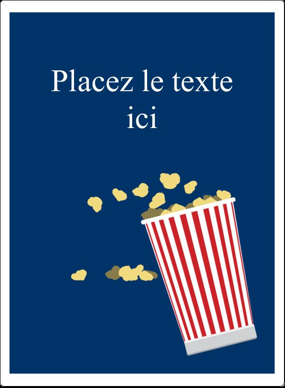 """4¾"""" x 3½"""" Étiquettes rectangulaires - Popcorn et film"""