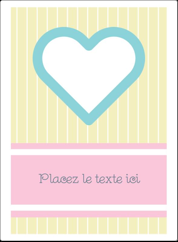 """4¾"""" x 3½"""" Étiquettes rectangulaires - Cœur bleu"""