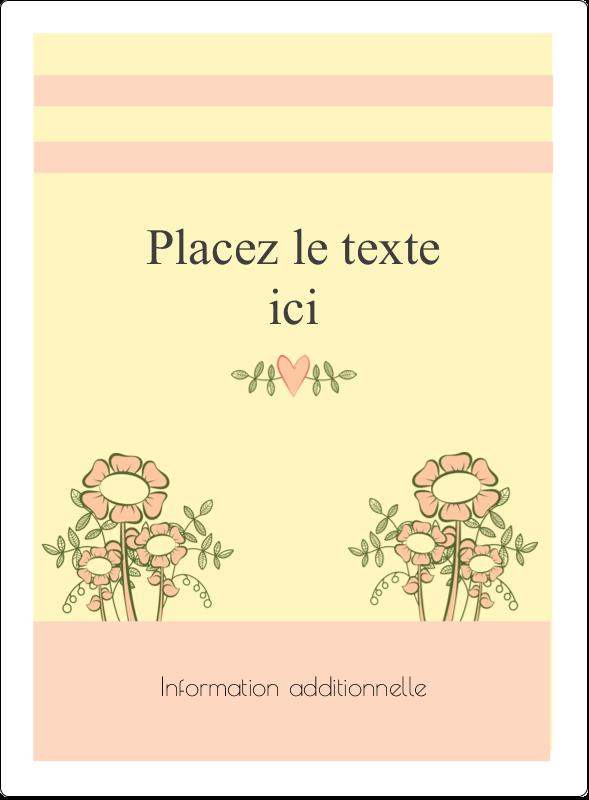 """4¾"""" x 3½"""" Étiquettes rectangulaires - Dessin floral"""