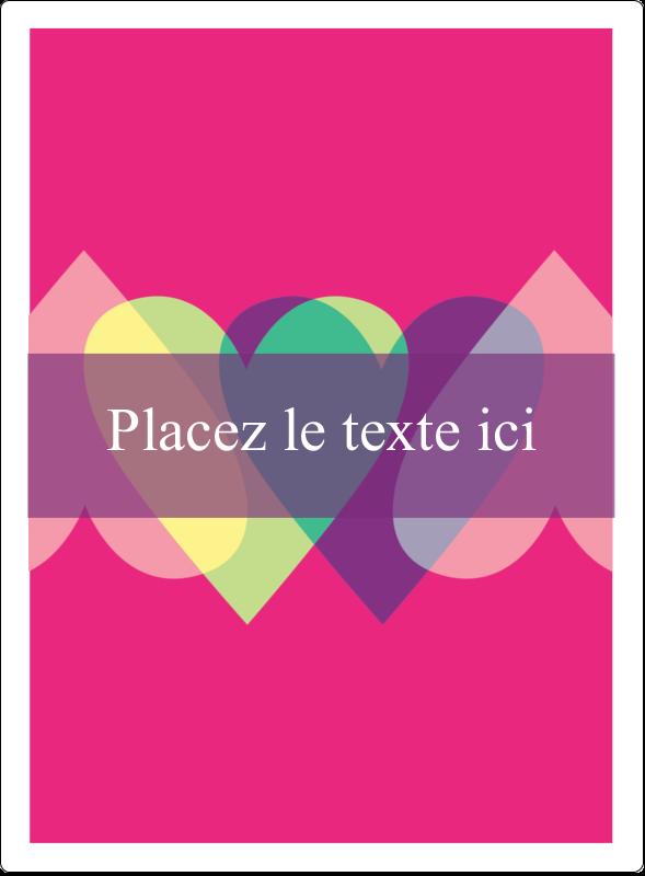 """4¾"""" x 3½"""" Étiquettes rectangulaires - Rang de cœurs de la Saint-Valentin"""