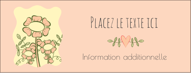 "1-7/16"" x 3¾"" Affichette - Dessin floral"