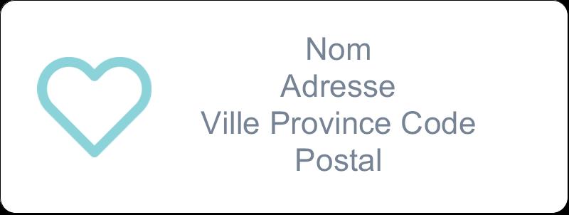 """⅔"""" x 1¾"""" Étiquettes D'Adresse - Cœur bleu"""