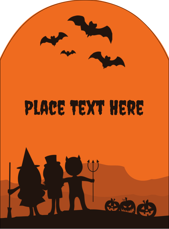 "4¾"" x 3½"" Arched Label - Halloween Kids"