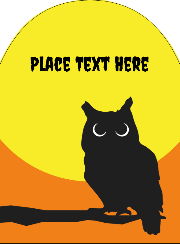 """4¾"""" x 3½"""" Arched Label - Halloween Owl"""