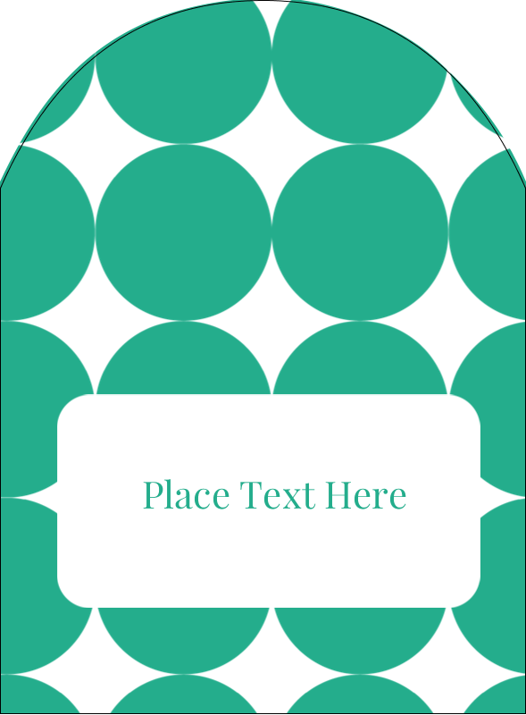 """4¾"""" x 3½"""" Arched Label - Teal Green Circles"""