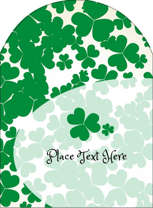 "4¾"" x 3½"" Arched Label - St. Patrick's Shamrock Background"