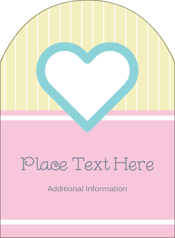 """4¾"""" x 3½"""" Arched Label - Blue Heart"""
