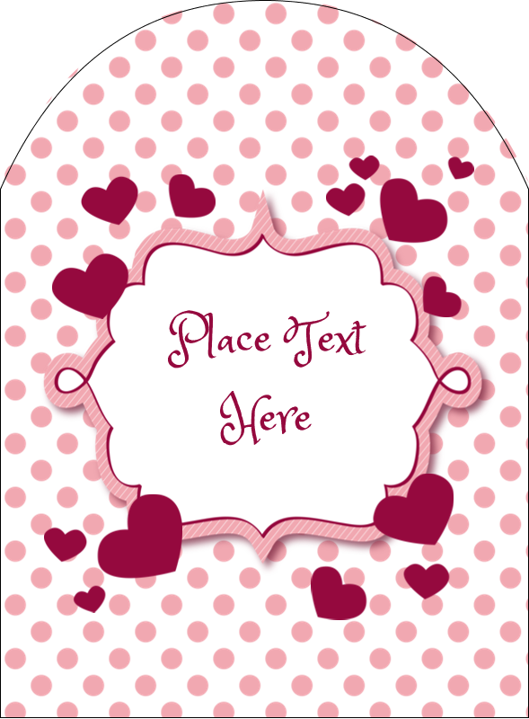 "4¾"" x 3½"" Arched Label - Valentine Bubbles"
