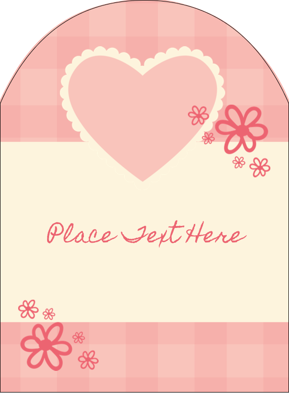 """4¾"""" x 3½"""" Arched Label - Valentine Gingham"""