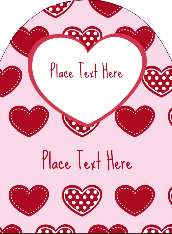 "4¾"" x 3½"" Arched Label - Valentine Heart Pattern"
