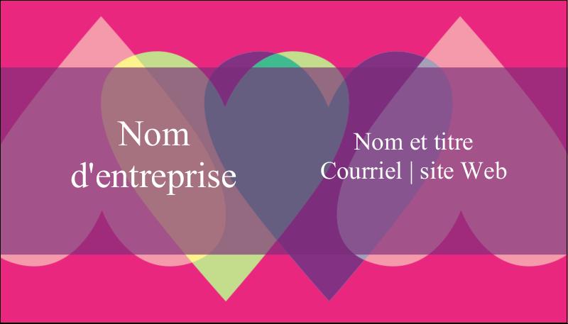 """2"""" x 3½"""" Carte d'affaire - Rang de cœurs de la Saint-Valentin"""