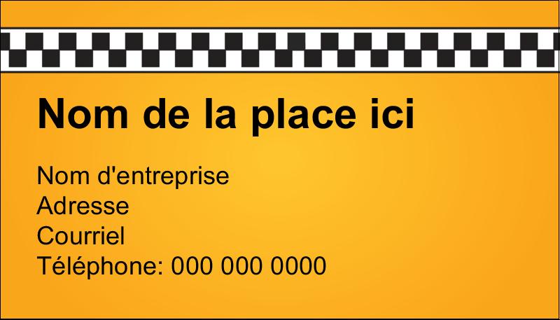 """2"""" x 3½"""" Carte d'affaire - Échiquier taxi"""