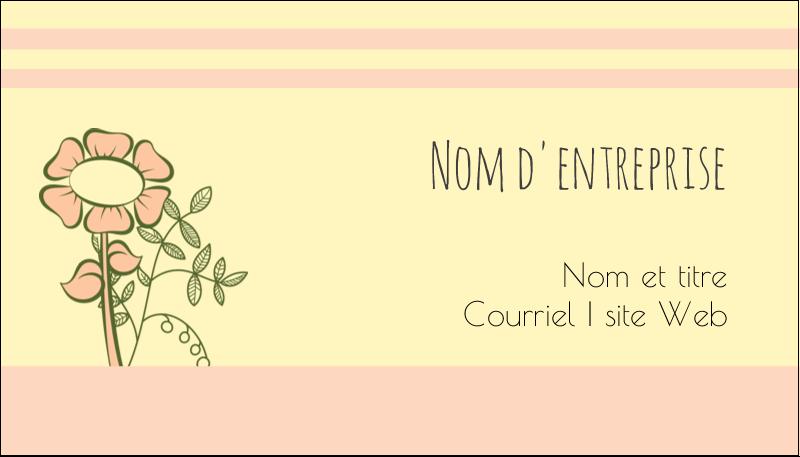 """2"""" x 3½"""" Carte d'affaire - Dessin floral"""