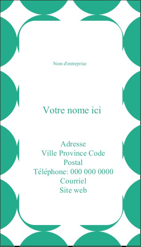 """3½"""" x 2"""" Carte d'affaire - Cercles vert sarcelle"""