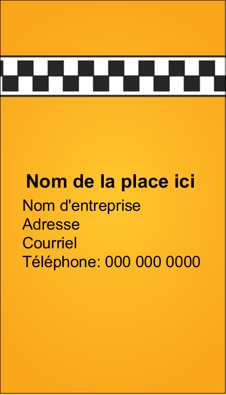 "3½"" x 2"" Carte d'affaire - Échiquier taxi"