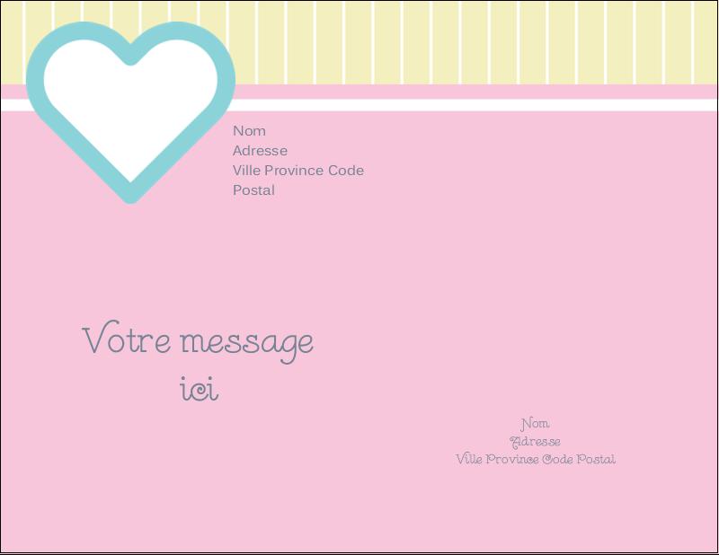 "5½"" x 4¼"" Carte Postale - Cœur bleu"