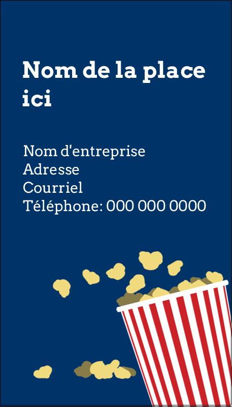 """3½"""" x 2"""" Carte d'affaire - Popcorn et film"""