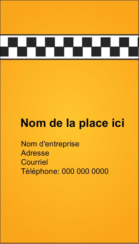 """3½"""" x 2"""" Carte d'affaire - Échiquier taxi"""