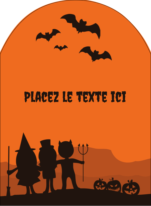 """4¾"""" x 3½"""" Étiquettes arrondies - Enfants à l'Halloween"""
