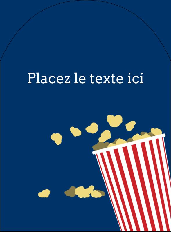 """4¾"""" x 3½"""" Étiquettes arrondies - Popcorn et film"""