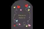Saint-Valentin sur fond noir Étiquettes arrondies - gabarit prédéfini. <br/>Utilisez notre logiciel Avery Design & Print Online pour personnaliser facilement la conception.