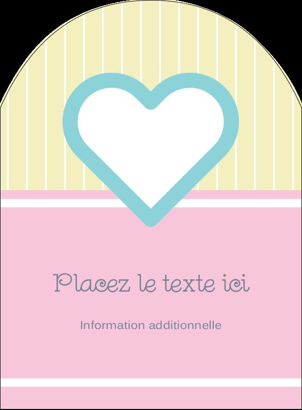 """4¾"""" x 3½"""" Étiquettes arrondies - Cœur bleu"""