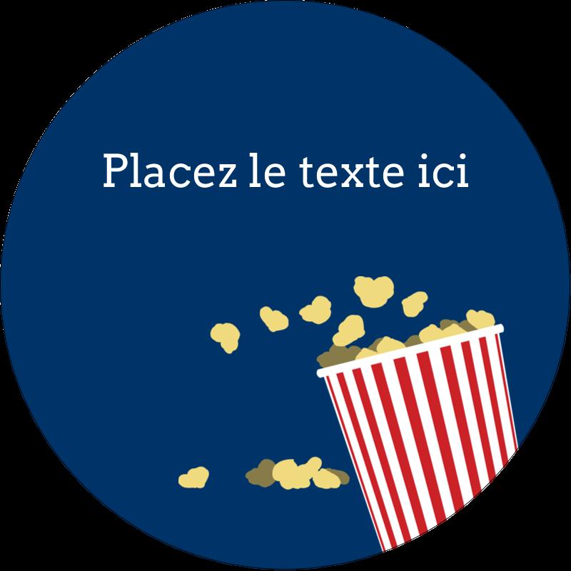 """3"""" Diameter Étiquettes rondes - Popcorn et film"""