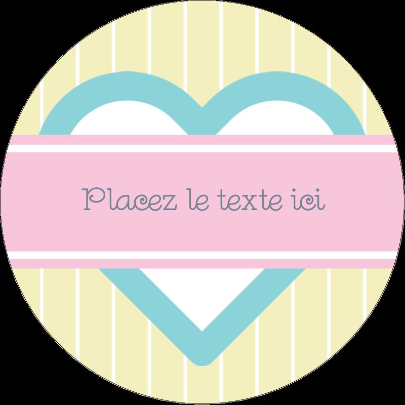 """3"""" Diameter Étiquettes rondes - Cœur bleu"""