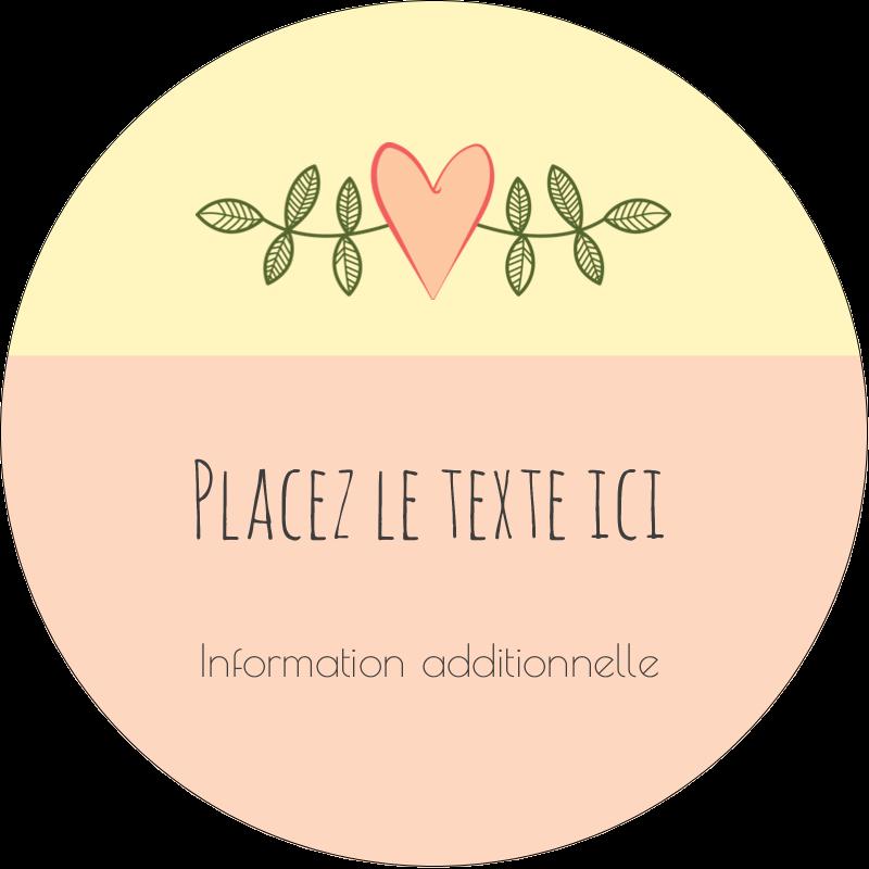 """3"""" Diameter Étiquettes rondes - Dessin floral"""