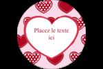 Cœur de Saint-Valentin Étiquettes rondes - gabarit prédéfini. <br/>Utilisez notre logiciel Avery Design & Print Online pour personnaliser facilement la conception.