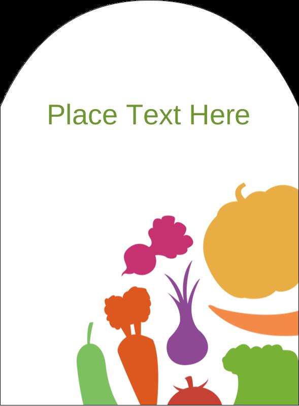 """4¾"""" x 3½"""" Arched Label - Vegetable Basket"""