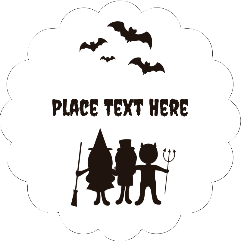 "2"" Scallop Oval Label - Halloween Kids"