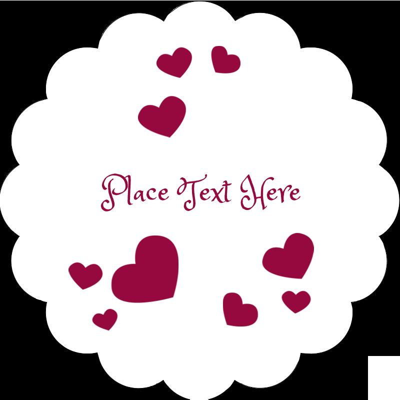 """2"""" Scallop Oval Label - Valentine Bubbles"""