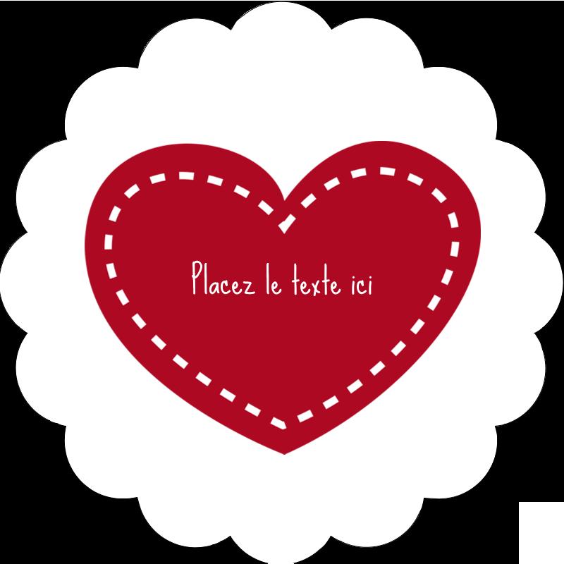 """2"""" Diameter Étiquettes festonnées - Cœur de Saint-Valentin"""