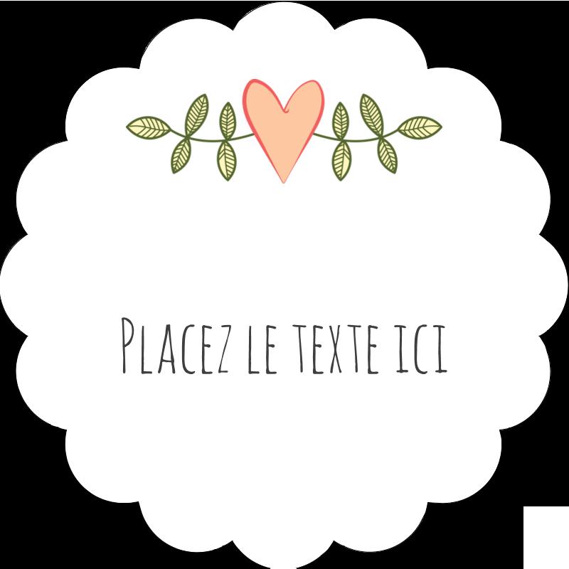 """2"""" Diameter Étiquettes festonnées - Dessin floral"""