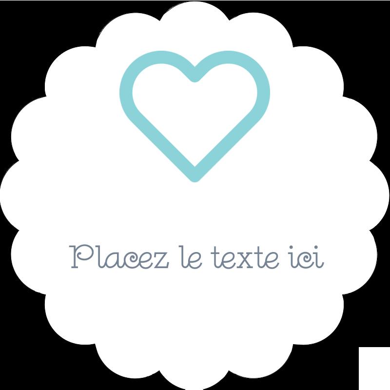 """2"""" Diameter Étiquettes festonnées - Cœur bleu"""