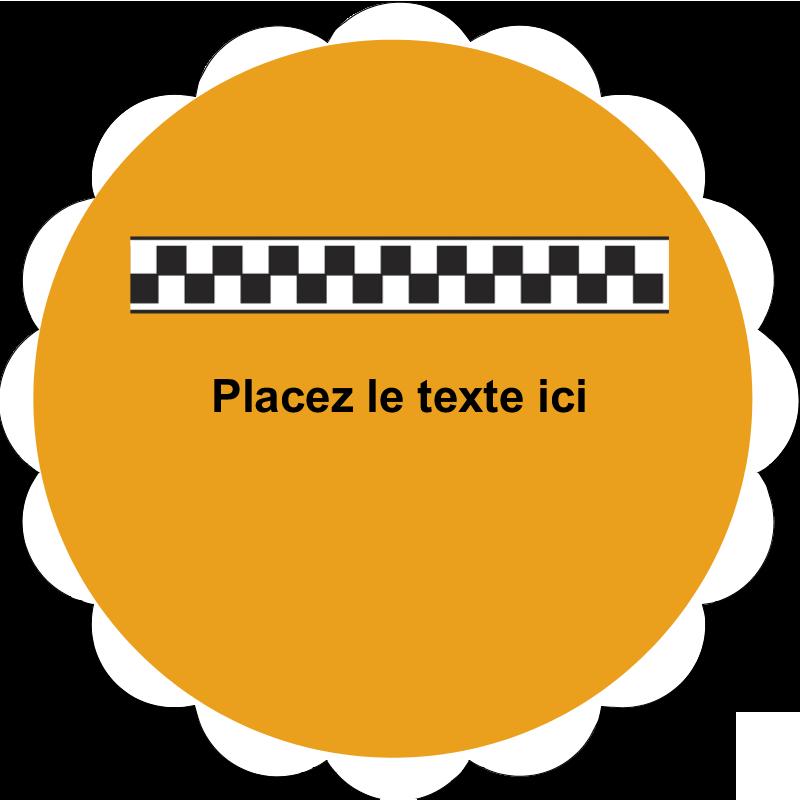 """2"""" Diameter Étiquettes festonnées - Échiquier taxi"""