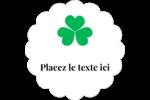 Pluie de trèfles de la Saint-Patrick Étiquettes festonnées - gabarit prédéfini. <br/>Utilisez notre logiciel Avery Design & Print Online pour personnaliser facilement la conception.
