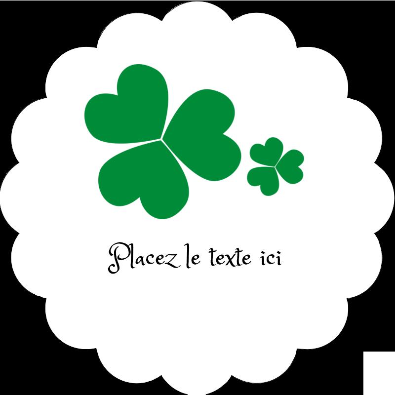 """2"""" Diameter Étiquettes festonnées - Arrière-plan de trèfles de la Saint-Patrick"""