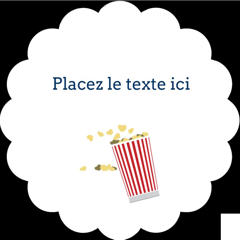 """2"""" Diameter Étiquettes festonnées - Popcorn et film"""