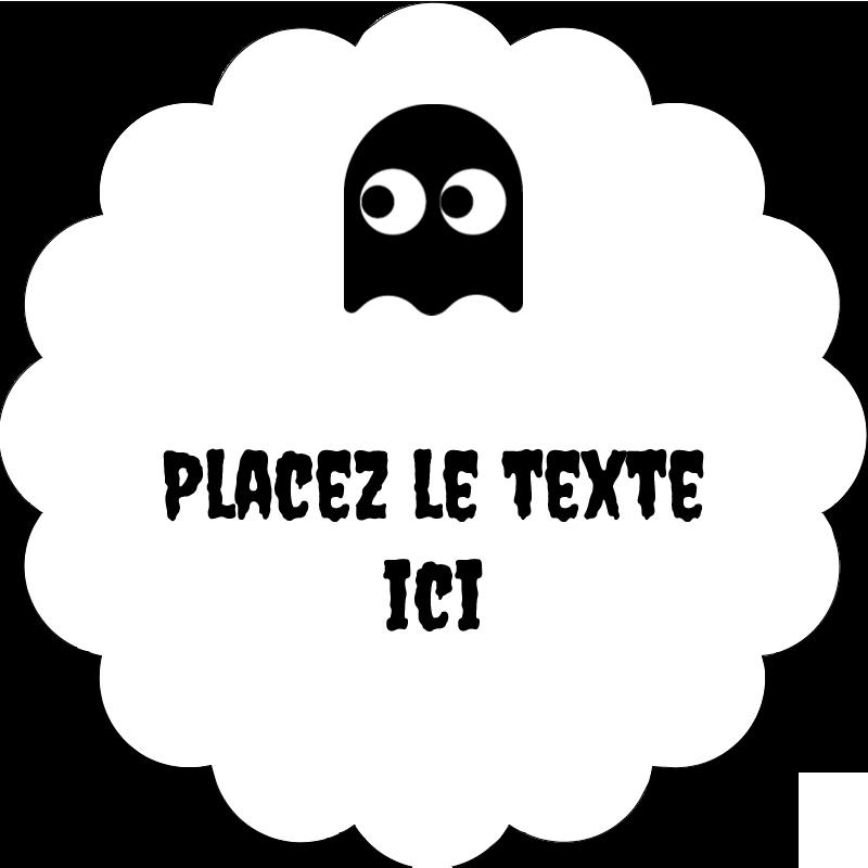 """2"""" Diameter Étiquettes festonnées - Fantômes Pac-Man d'Halloween"""