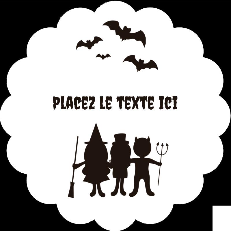"""2"""" Diameter Étiquettes festonnées - Enfants à l'Halloween"""