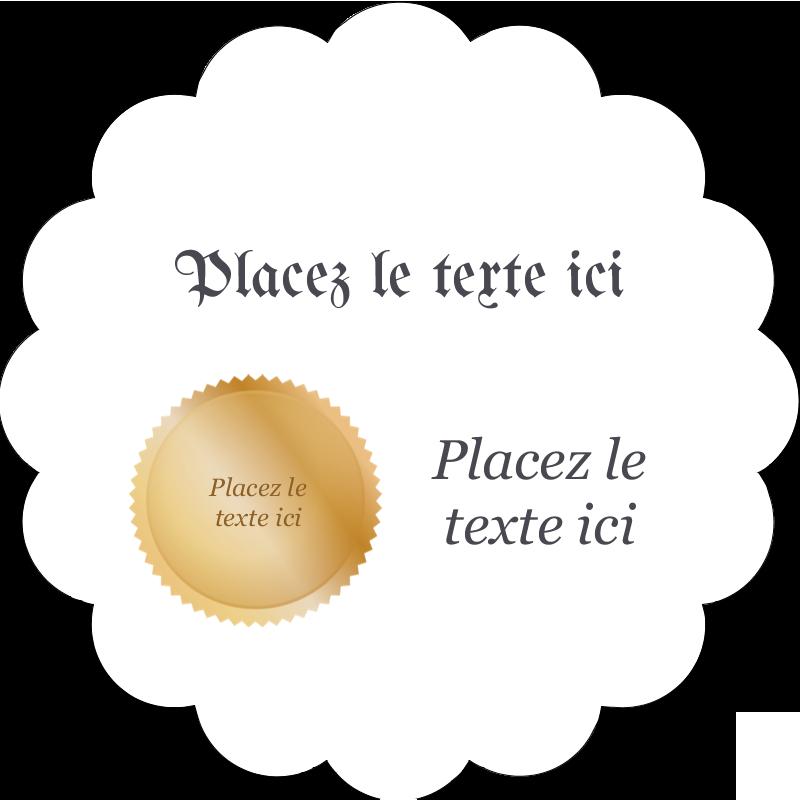 """2"""" Diameter Étiquettes festonnées - Diplôme d'études"""