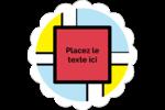Carrés Mondrian rouges Étiquettes festonnées - gabarit prédéfini. <br/>Utilisez notre logiciel Avery Design & Print Online pour personnaliser facilement la conception.